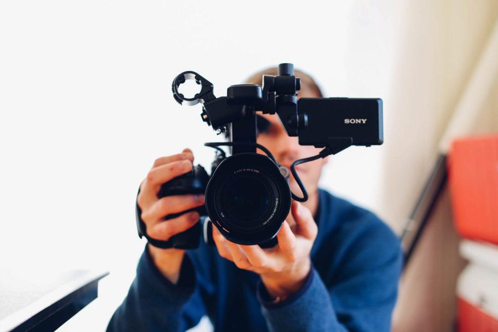 acting sony camera pointing towards you